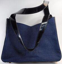 ESCADA Vintage 1980s Handbag Purse Blue Dark Denim Patent Leather E Logo Fabric