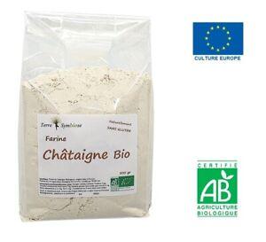 Farine de Châtaigne Bio - 500g - Naturellement sans gluten - Cuisine Pâtisserie