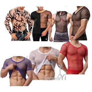 Mens-Fishnet-Mesh-T-Shirt-See-Through-Vest-Tank-Tops-Crop-Gym-Sports-Muscleshirt