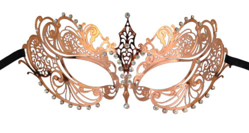 Luxury Mask Women/'s Laser Cut Metal Venetian Masquerade Mask with Clear Crystals