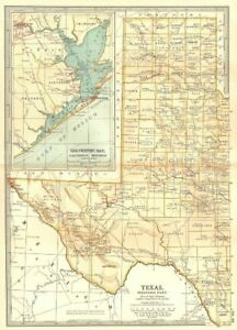 Map Of Texas Showing Counties.Details About Texas West State Map Showing Counties Inset Galveston Bay Houston 1903