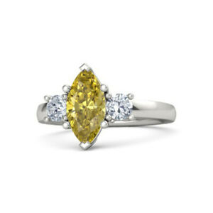 2-00-Ct-Yellow-Sapphire-Diamond-Engagement-Ring-Solid-950-Platinum-Size-M-N-O-P