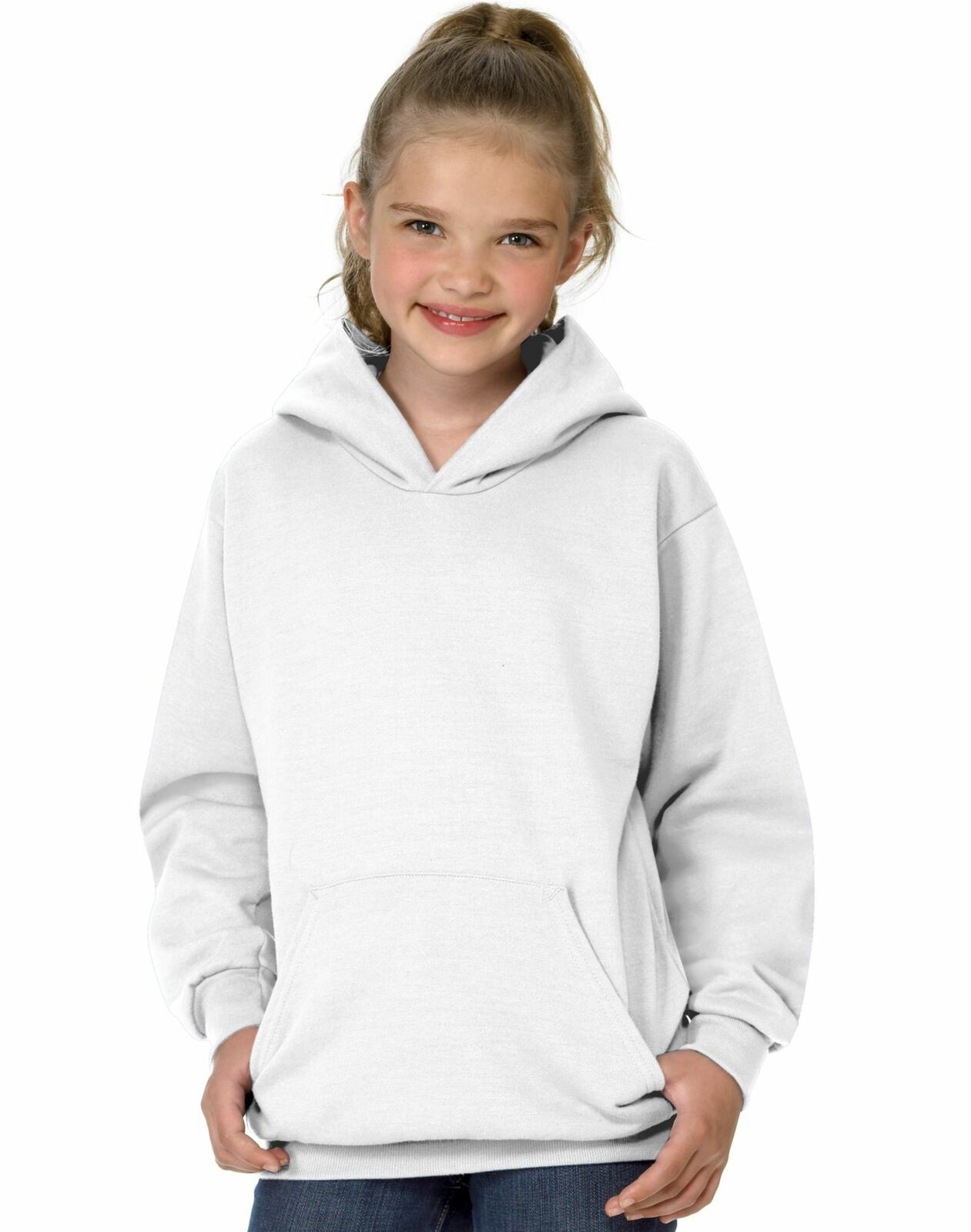 Hanes ComfortBlend EcoSmart Youth Pullover Hoodie White