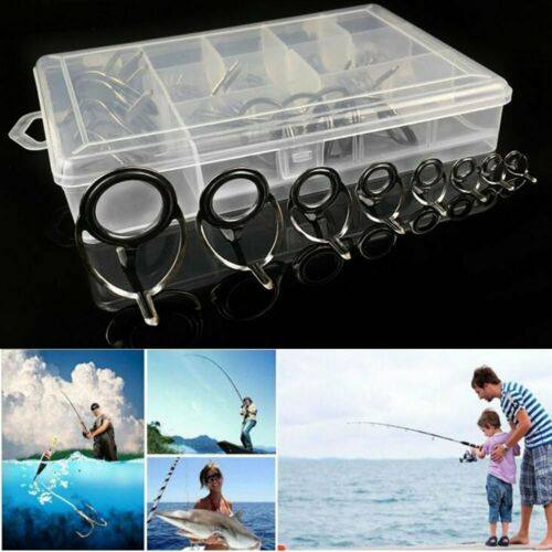 8 Mixed Size Fishing Top Rings Rod Pole Repair Kit Line Guides Eyes Sets UK