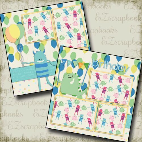BIRTHDAY BALLOONS BLUE - 2 Premade Scrapbook Pages - EZ Layout