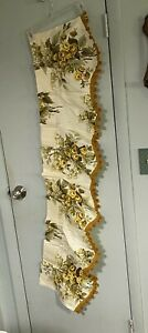 Vintage-Window-Valance-Mod-Yellow-Gold-Floral-Rose-Pom-Pom-Scalloped-Drapery