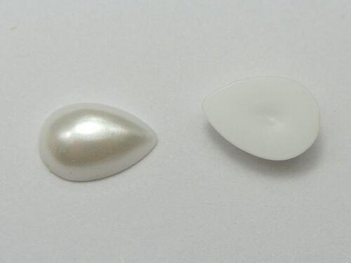 1000 Pure White Teardrop Half Pearl Bead FlatBack Cabachon Gem 4X6mm Scrapbook