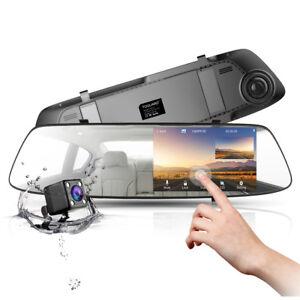 Toguard-4-3-034-Car-Camera-Touch-Screen-Mirror-Rearview-Dashcam-FHD-1080P-Dual-Lens