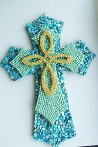 Contemporary-Layered-Mosaic-Hand-Decorated-Wall-Cross-Seashells-Seed-Beads-and
