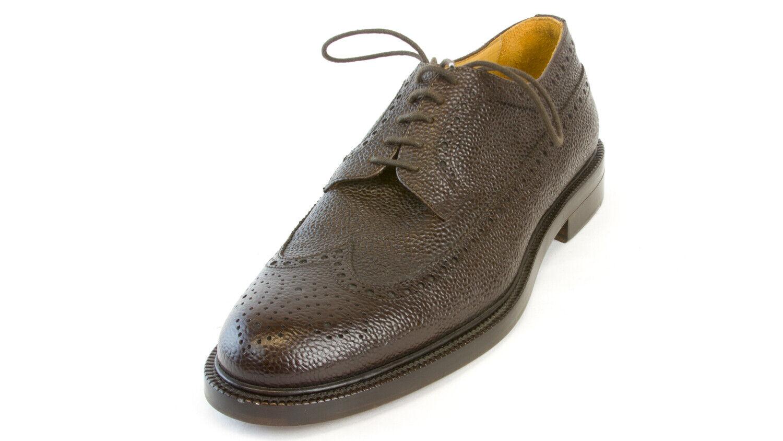 J. LINDEBERG Men's Dark Chocolate Wing-Tip Grained Leather scarpe Sz 8  610 NEW