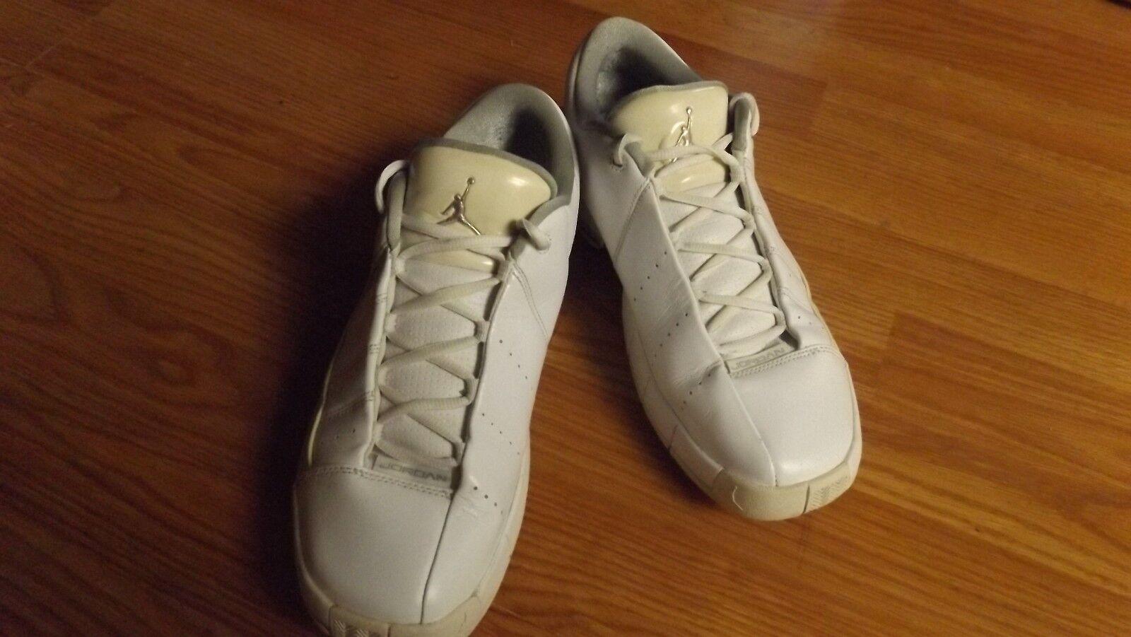 NIKE Air Jordan TE II Advance Shoes White and Gold 395468-101 Men 10.5 Wild casual shoes