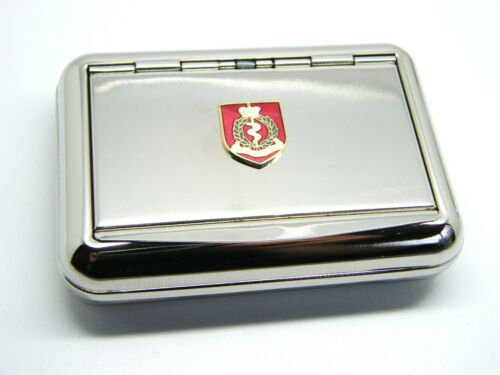 THE ROYAL ARMY MEDICAL CORPS BADGE HARD METAL CHROME PLATED TOBACCO TIN MILITARY