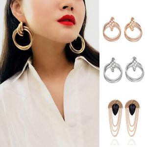 Fashion-Women-Gold-Statement-Chunky-Circle-Dangle-Hoop-Earrings-Ear-Jewellery