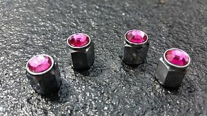 Pink-Jewel-Crystal-Silver-Diamond-Tyre-Wheel-Valve-Dust-Caps-Car-Bike-BMX-210