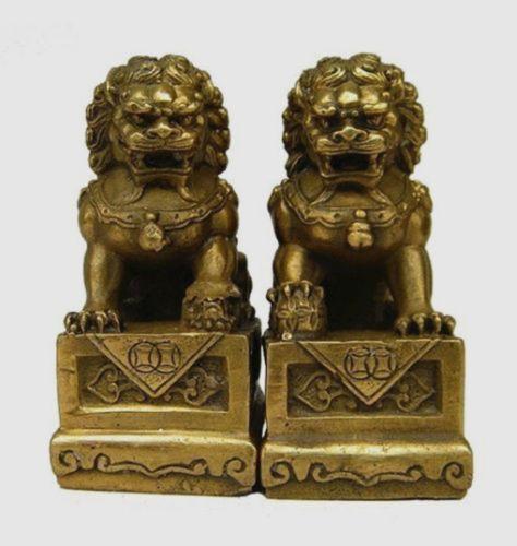 China Chinese Brass Folk Fengshui Foo Fu Dog Guardion Door Lion Statue Pair 7cm