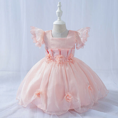 Details about  /Childrens Newborn Baby Girls Pleated Flower Easter Multi-Layer Dress 3-24 MONTHS