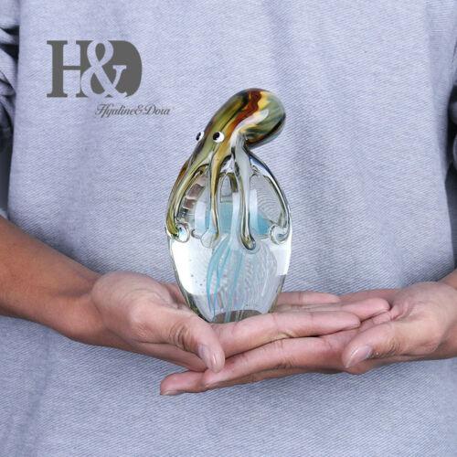 Crystal Figurine Handmade Blown Glass Figurine Ornament with Jellyfish Xmas Gift