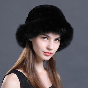 Women s Fur Hat Rex rabbit Fur knit fox fur pot hat winter warm ... 5bced75d44f