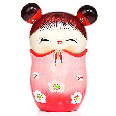 Learned Memory Pink Trinket Box Kokeshi Doll To Make One Feel At Ease And Energetic Dolls & Bears Dolls