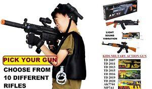 Toy Kids Military Assault Machine Gun with Vibration Sound Flashing Light Laser
