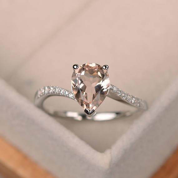 14K White gold 1.70 Ct Pear Natural Morganite Diamond Wedding Ring Size 5 6