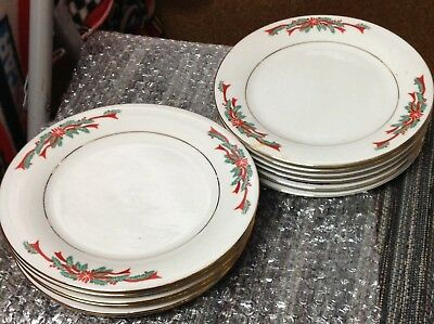 Poinsettia and Ribbons 4 Pcs Place Setting Christmas Porcelain China Red /& Green