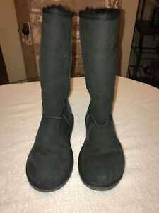 5e518a25ebda Image is loading UGG-Classic-Tall-II-Black-Suede-Fur-Boots-