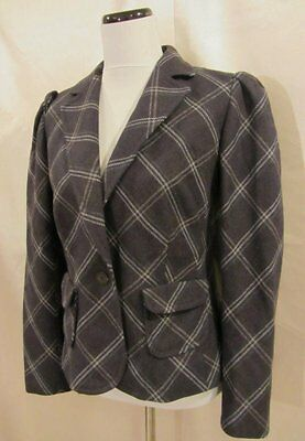 Banana Republic Gray Wool Plaid Puffy Sleeves Blazer size 10