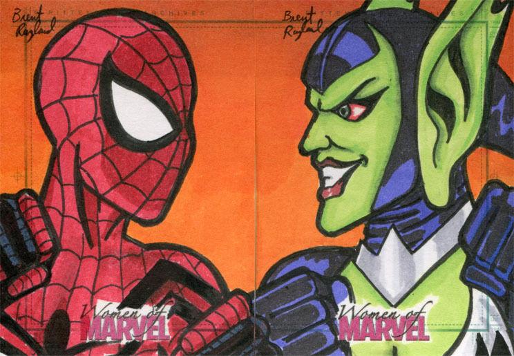 Women of Marvel Series Two Sketch Card Brent Ragland Spider-Girl VS Goblin Queen