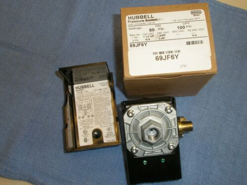 69JF6Y  AIR COMPRESSOR PRESSURE SWITCH 80-100PSI FURNAS//HUBBELL New