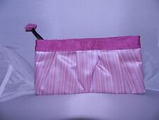 New AVON Pink Striped Clutch Cosmetic Accessory Bag