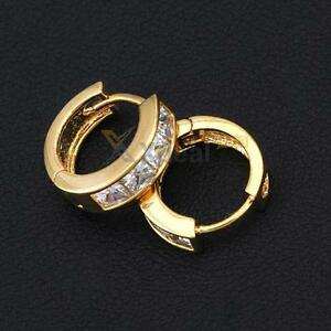 Fashion-Simple-Design-18K-Gold-Plated-White-Crystal-Small-Hoop-Earrings-Earstuds