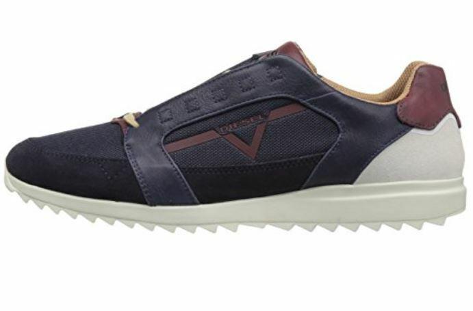 Diesel zapatos caballero zapatillas  V-staffetta  cuero genuino azul navy