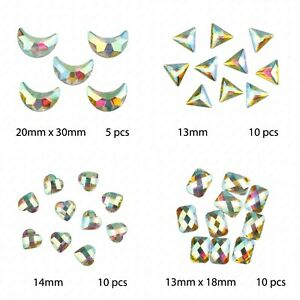 Faceted-AB-Clear-Heart-Triangle-Rectangle-Flat-Back-Face-Body-Gem-Festival-Jewel