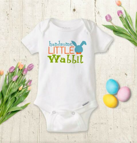 Handsome Little Wabbit Easter Bodysuit Baby Boy Bodysuit Toddler Boy Shirt