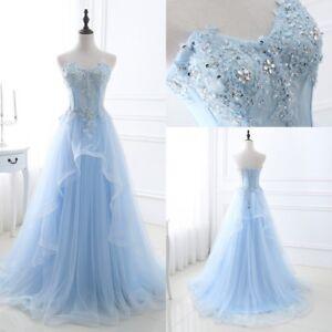 attraktive Designs kostengünstig begrenzter Preis Details zu Lang Hellblau Tüll Abendkleid Ballkleid Absclussball Kleid Party  Cocktail 32-46