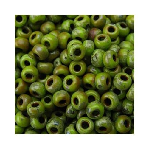Miyuki Seed Beads 6//0 Matte Picasso Chartreuse 6-4515 Glass 20g Round Green