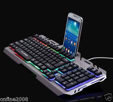 USB Wired Illuminated Colorful LED Backlight Multimedia Pro PC Gaming Keyboard