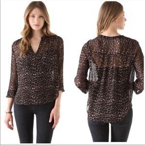 Joie Brown & Black Silk Adana Leopard Print Silk Long Sleeve Blouse Top XS