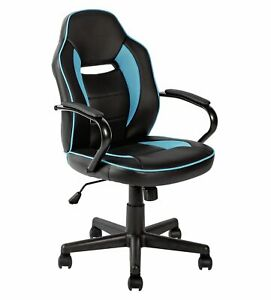 Argos Home Faux Leather Mid Back Swivel Gaming Chair - Blue & Black