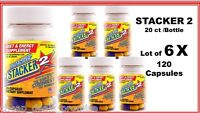 Stacker 2 Fat Burner Loose Weight Energy 20 Ct (lot 6 X Bottle) = 120 Capsules