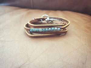 Womens handmade actual tan leather ice blue beaded boho wrap adjustable bracelet