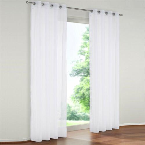 Gardinen Wohnzimmer Vorhang Transparent mit Ösen Fenstergardine Modern Voile