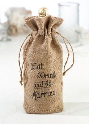 Eat Drink Married Wine Bottle Bag Hessian Burlap Rustic Wedding Decorations