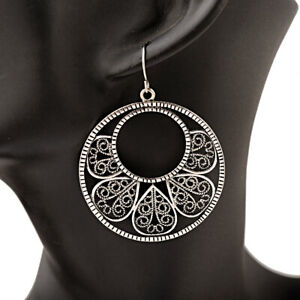 Women-Vintage-Bronze-Silver-Round-Hollow-Leaf-Drop-Dangle-Hook-Earrings-Jewelry