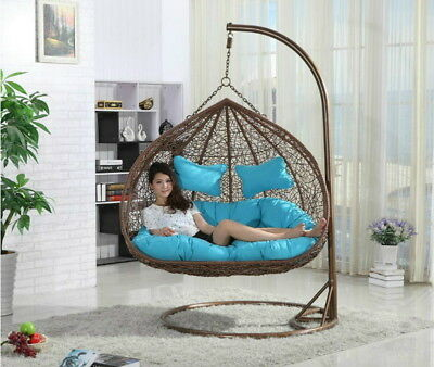 Hanging Rattan Double Swing Chair With Cushion Stand Rattan