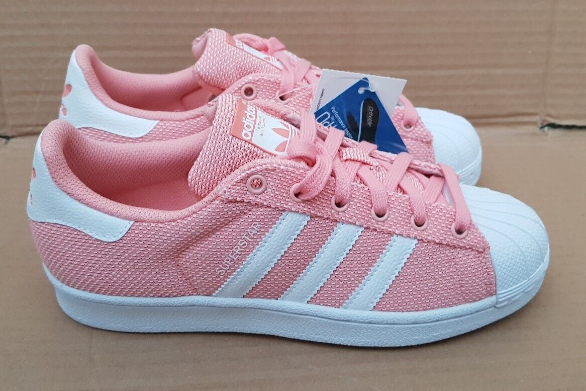 BNIB GORGEOUS ADIDAS SUPERSTAR PEACH 5 PINK TEXTILE TRAINERS SIZE 5 PEACH UK RARE NEW 29c9c4