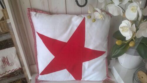 Füllung Star Stern rot 50x50cm Landhaus Shabby Chic kariert HOME KONTOR Kissen