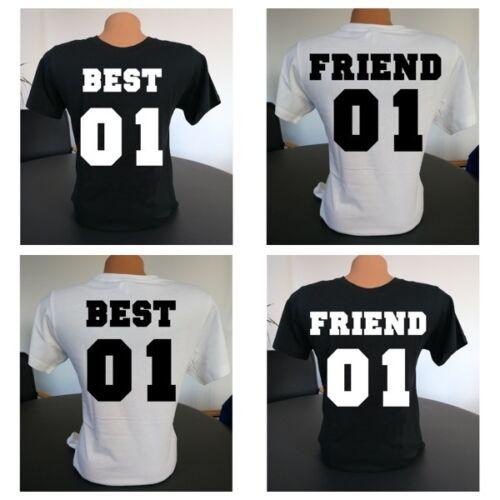 Damen Rundhals T-Shirt BEST /& FRIEND für Geschwister Freunde etc Wunschzahl