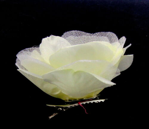 light cream silk hair flower  with clip and brooch pin pearl bead center